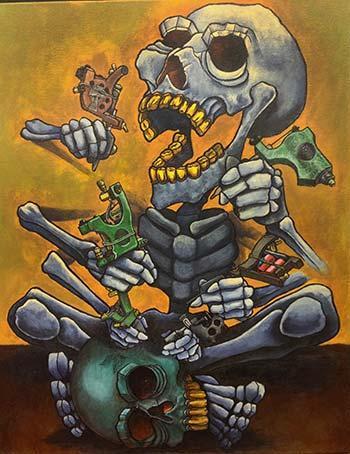 Boston Rogoz - Skeleton Tattooing Painting