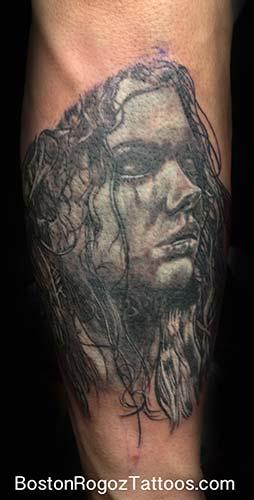 Tattoos - black and grey portrait of a girl - 74186