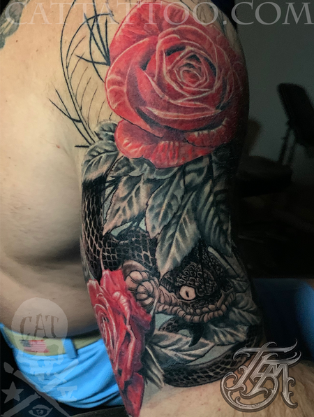 Terry Mayo - Progress shot 2 of a snake and rose color half sleeve