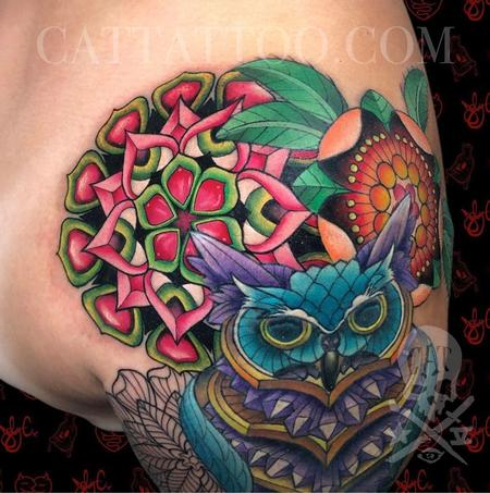 Joby Cummings - Floral Geometry and Crystal Owl