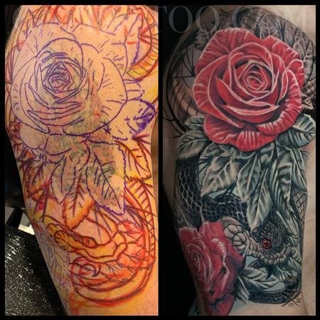 Terry Mayo - Snake and Roses Half Sleeve