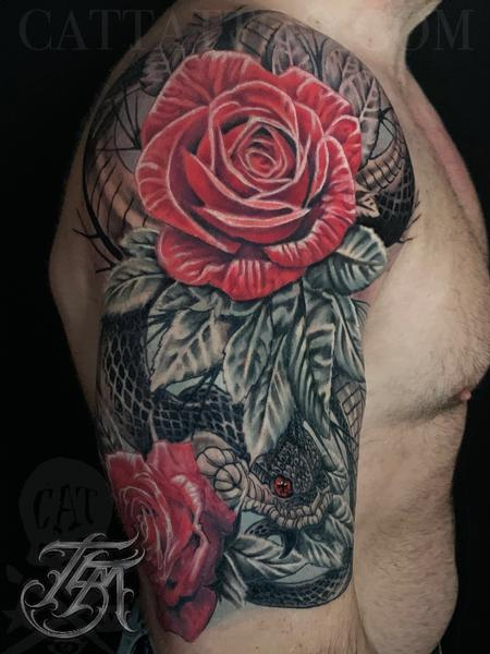 Terry Mayo - Snake and Roses Half Sleeve Image 3