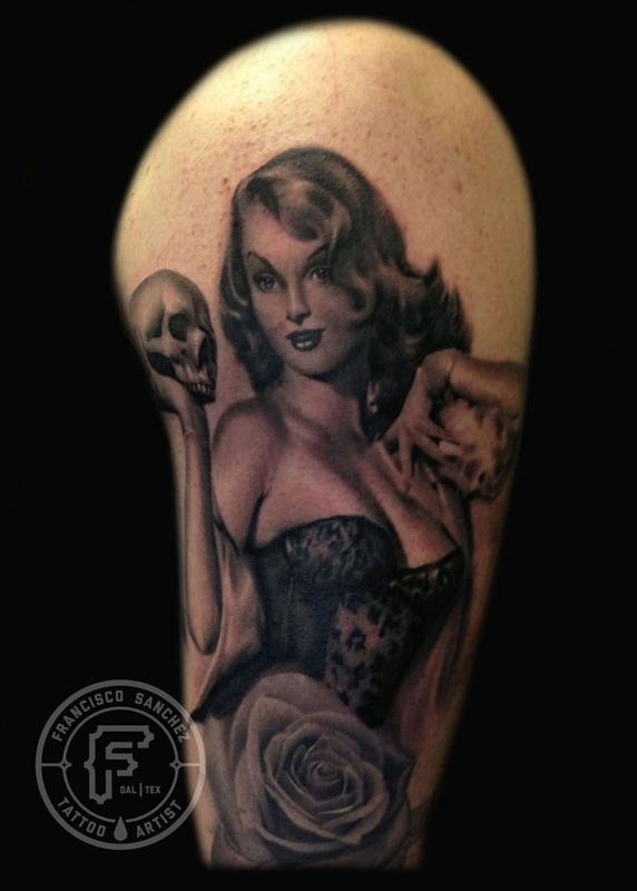 Tattoos - pinup with skull - 72046