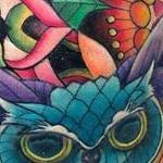 Floral Geometry and Crystal Owl Tattoo Thumbnail