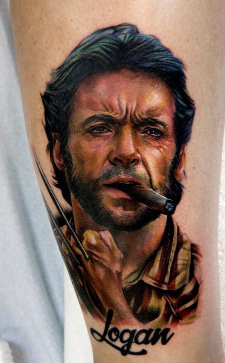 Hugh Jackman Color Portrait Tattoo