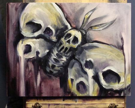 Tattoos - Deaths Head Moth, oil on gesso board - 60268