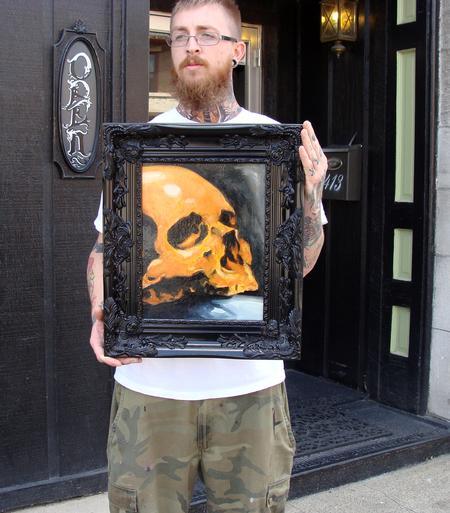 Tattoos - 11x14 skull oil painting - 68151