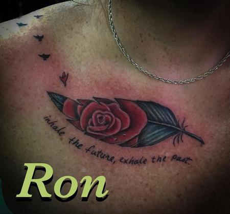 Ron Goulet - Rose in feather memorial tattoo