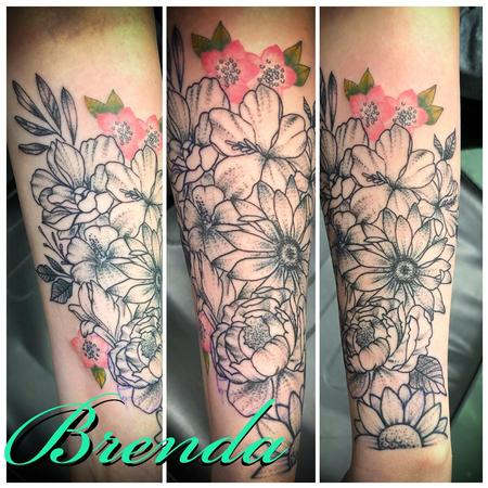 Tattoos - Floral with a Pop of Color - 138066