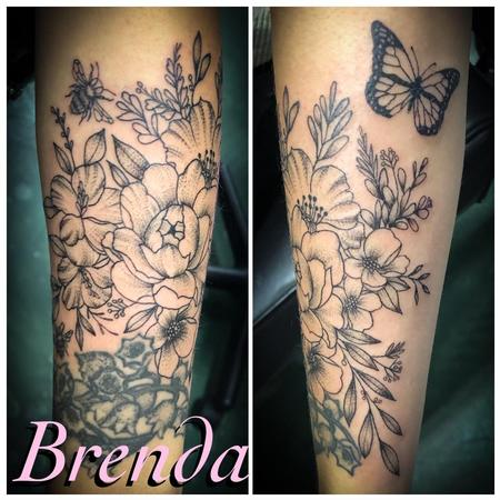 Tattoos - Black and Grey Floral - 140297