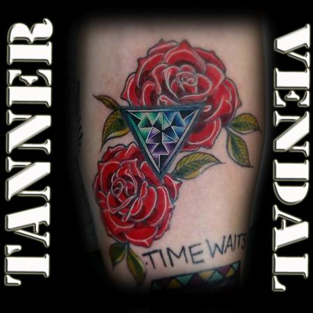 Tattoos - Roses with Geometric Design - 130996