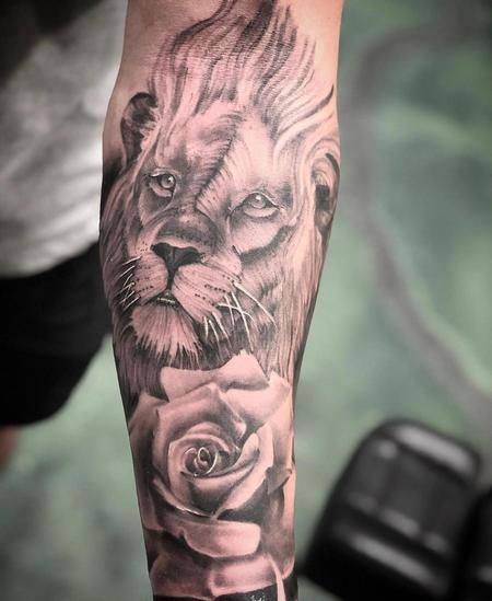 Tattoos - Lion and Rose - 139555