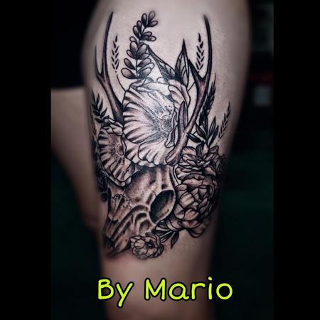 Tattoos - Deer Skull and flowers - 138523