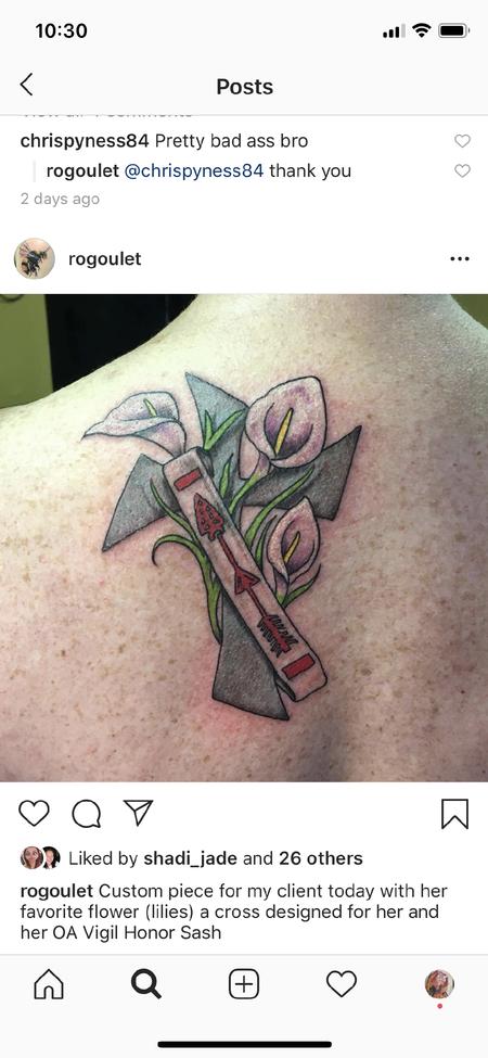 Tattoos - Cross w/Lilies and OA Vigil Honor Sash - 139559