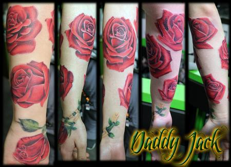 Tattoos - Realistic Red Rose Sleeve - 131857