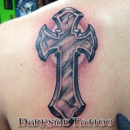 Tattoos - Black and Gray Cross - 87290