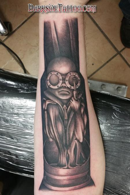 Tattoos - Black and Gray Giger Baby Tattoo - 104902