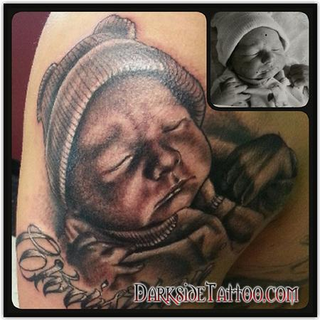 Tattoos - Black and Gray Baby Portrait Tattoo - 91863