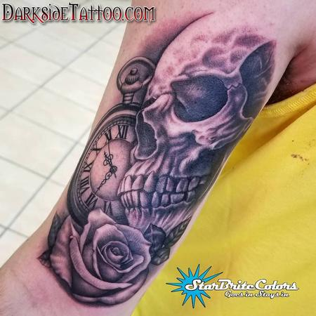 Black and Gray Skull Tattoo