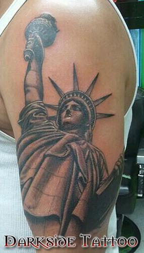 Tattoos - Black and Gray Statue of Liberty Tattoo - 87352