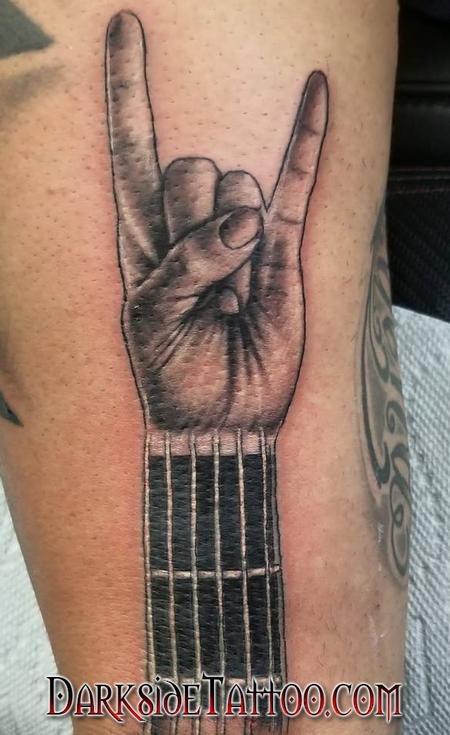 Black and Gray Devil Hand Tattoo