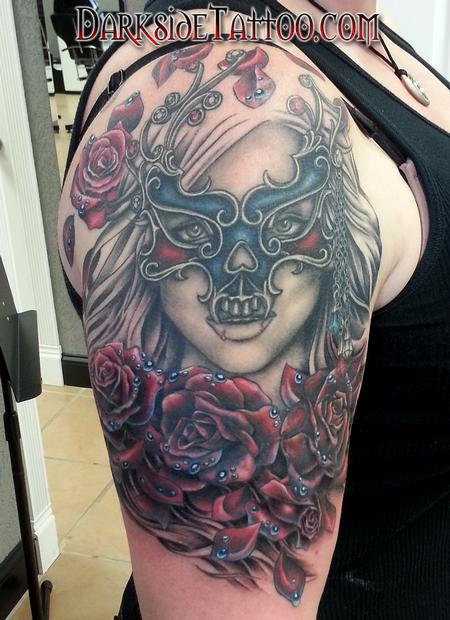 Tattoos - Color Roses and Mask Tattoo - 98896