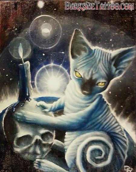 Tattoos - Color oil painting of Dave's Cat Anubis - 88740