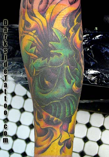 Tattoos - Skull and Flames  - 1906