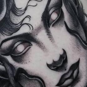 Tattoos - Black and Gray Medusa Tattoo - 133958