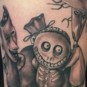 Tattoos - Black and Gray Nightmare Before Christmas Tattoo - 130047