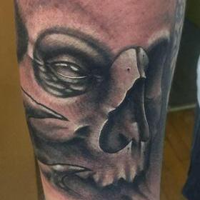 Tattoos - Black and Gray Skull Tattoo - 132128
