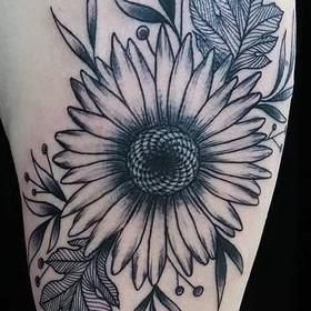 Tattoos - Black and Gray Sunflower Tattoo - 130042