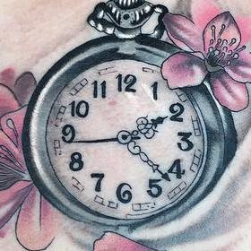 Tattoos - Color Clock and Cherry Blossom Tattoo - 130046