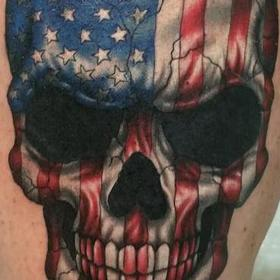 Tattoos - Color American Flag Skull - 109894
