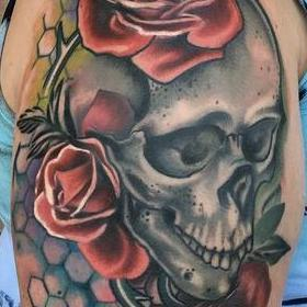 Tattoos - Color Skull and Roses Tattoo - 130054