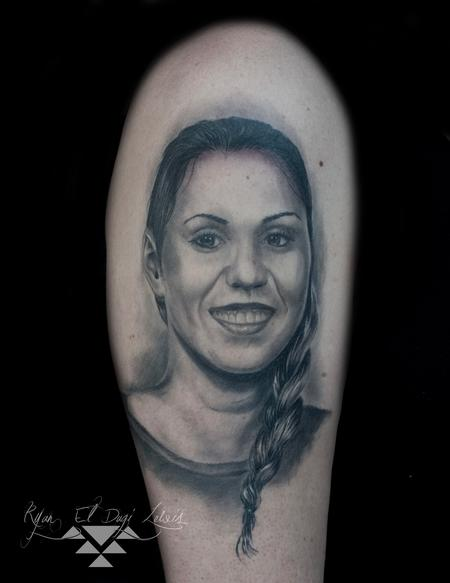 Black and Grey Portrait Tattoo Design