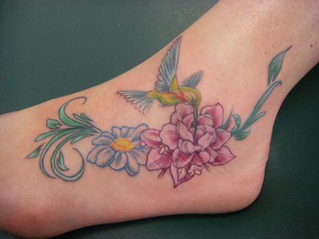 Tattoos - Flower and Hummingbird - 65015