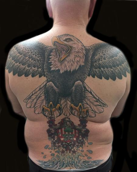 Angela Leaf - Bald Eagle, Family Crest, Back Piece,  Color Tattoo