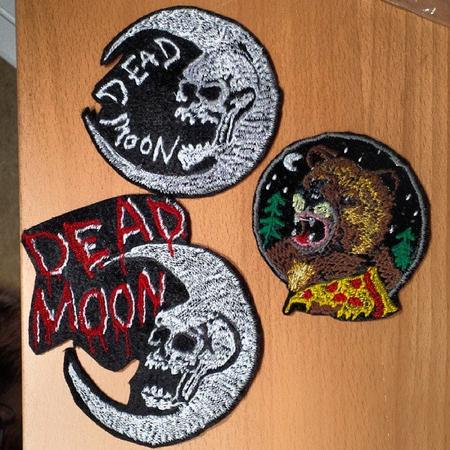 Tattoos - hand made patches, dead moon and bear eating pizza - 99271