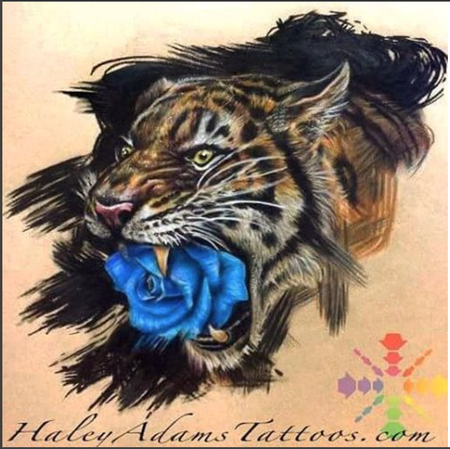 Tattoos - Tiger puking rose - 120145