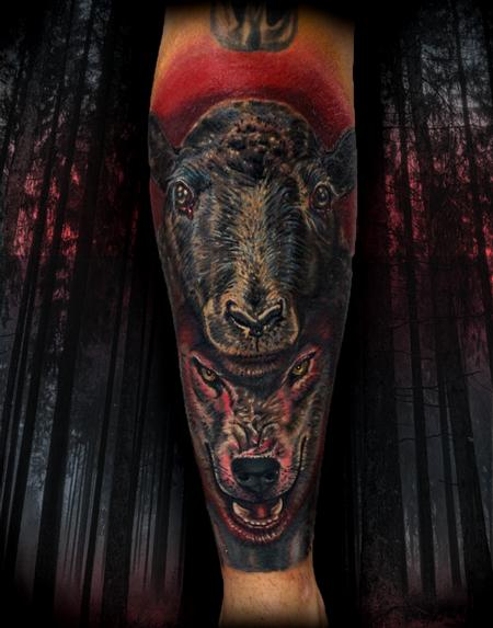 Haley Adams - wolf in sheeps clothing tattoo
