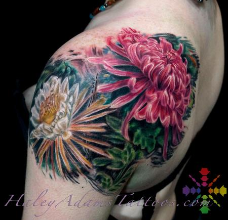 Tattoos - flowers on shoulder and upper arm view 2 - 117104