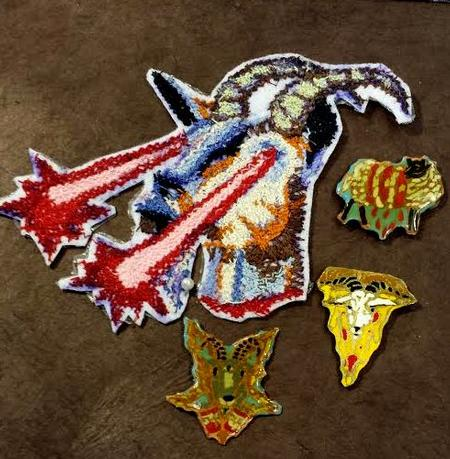 Tattoos - Laser eyed goat patch and 3 enamel pins - 101980