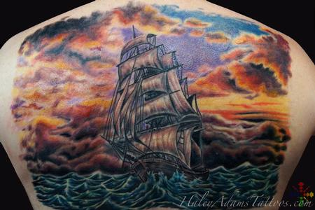 Tattoos - sailing ship back piece  - 109072