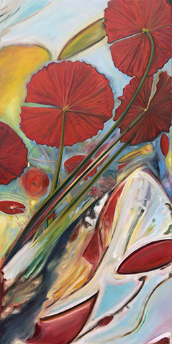 Michele Wortman Red Lily Pads Print