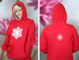 C110 Red Crystal hooded sweatshirt Michele Wortman