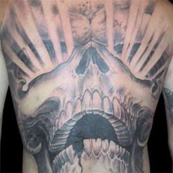 Tattoos - Skull Rays Back Piece - 13886