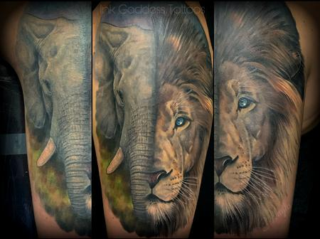 Tattoos - Elephant and Lion half sleeve by Haylo - 141221