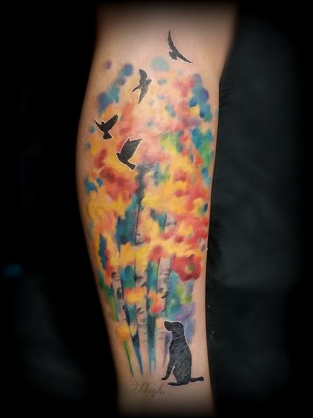 Tattoos - Watercolor Trees with Dog & Birds silhouettes tattoo by Haylo  - 141142