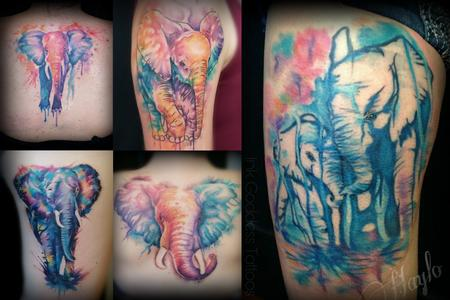 Tattoos - Watercolor style elephant tattoos by Haylo  - 141217